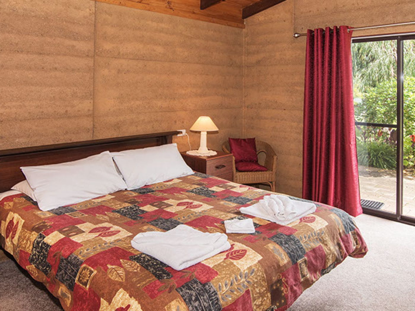 Rammed Earth chalet main bedroom